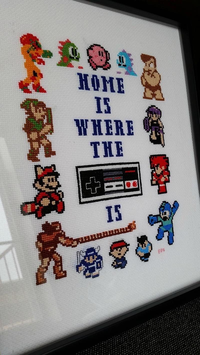 Video game home cross-stitch