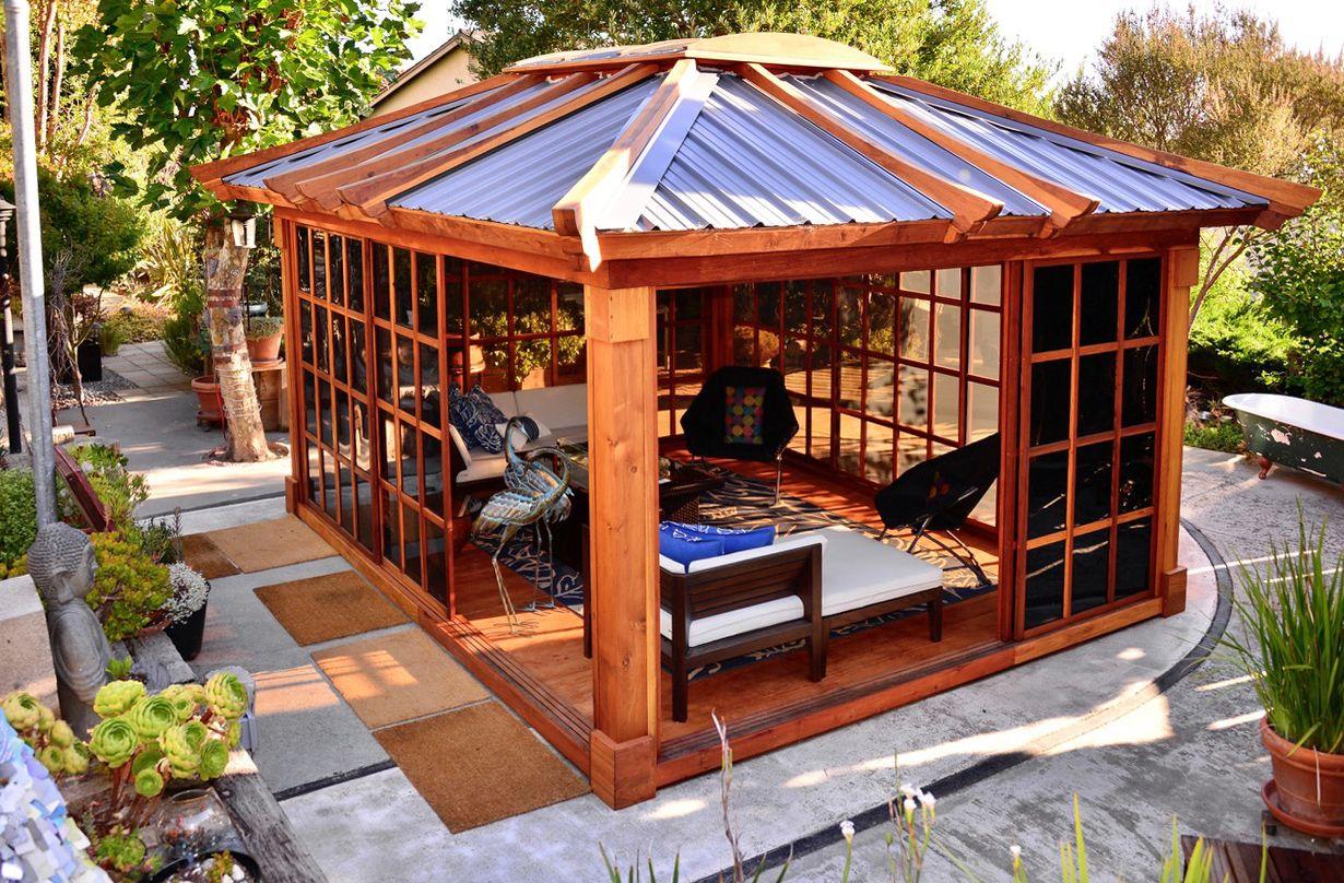 Sun Gazebo Options 14 L 12 W Redwood 4 X 6 Skylight Complete Floor Transparent Premium Sealant Metal Roof Add Gazebo San Francisco Houses Backyard