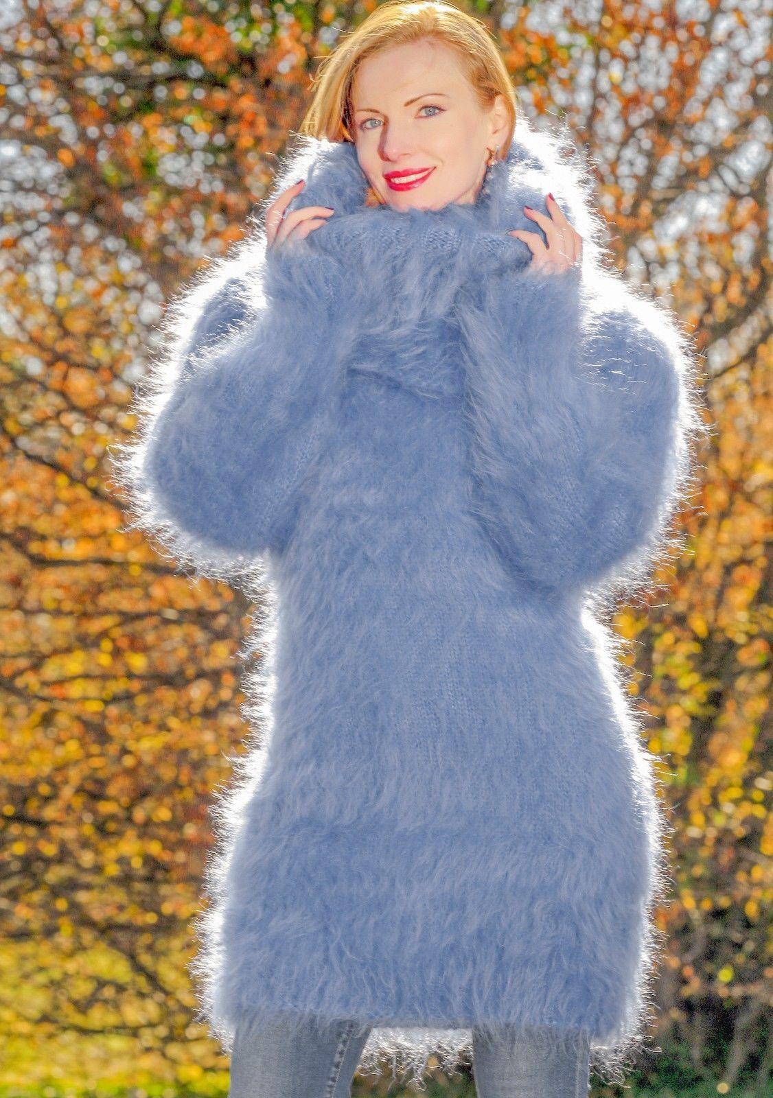 e551f253100 Fuzzy blue dress hand knitted mohair sweater with extra long turtleneck  SALE | eBay