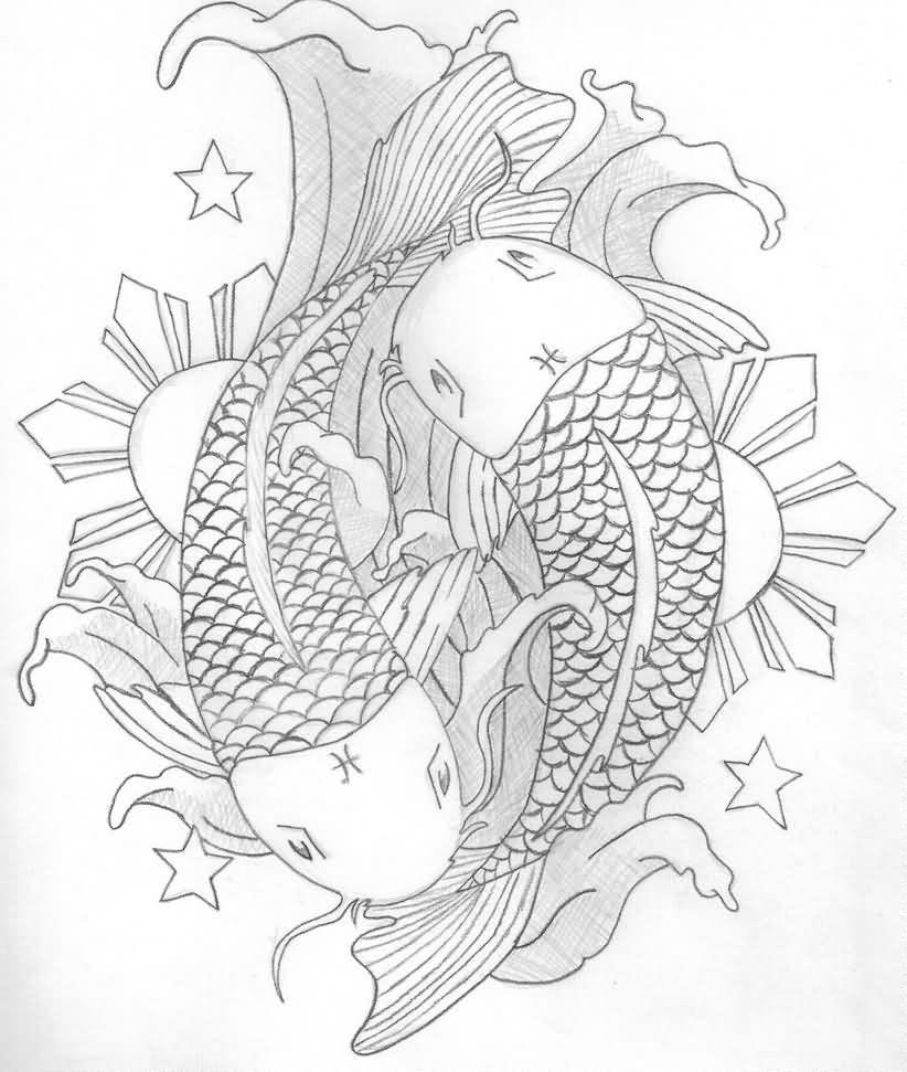 Stars Sun And Koi Pisces Tattoos Sketch Tattoos Tattoos Pisces