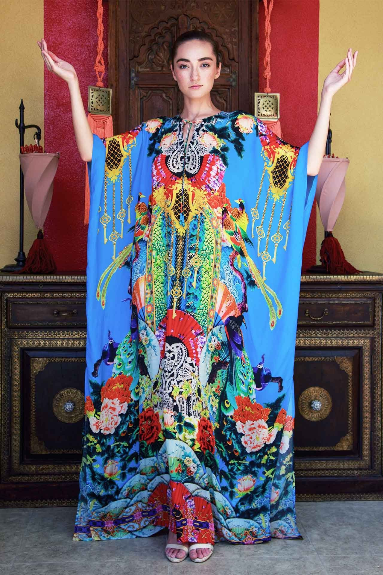 54c4c839a Blue Japanese Print Kaftan Dress - Designer Women's Clothing - Shahida  Parides®