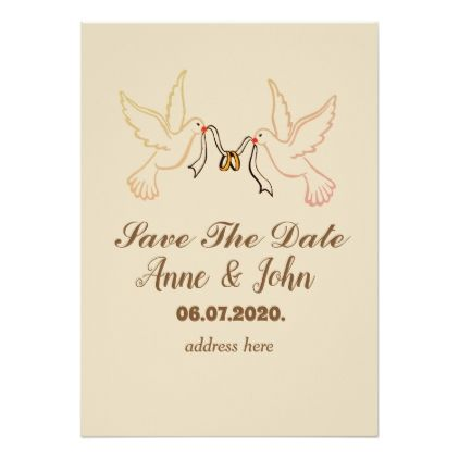 Save the date doves golden rings invitation card romantic wedding save the date doves golden rings invitation card romantic wedding gifts wedding anniversary marriage party stopboris Image collections