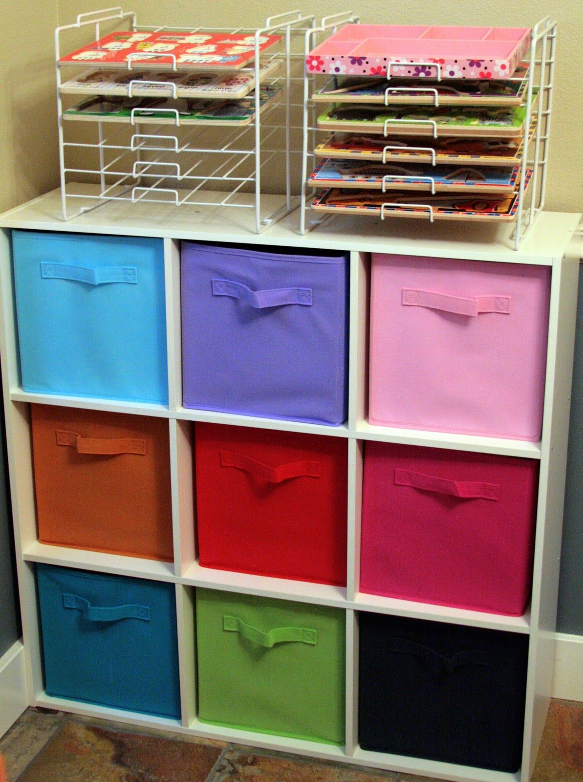 The Navy Stripe: Organizing Kids Toys - paper trays on top of ...