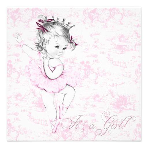 Sweet Ballerina Pink Toile Baby Shower Card | Baby shower ...
