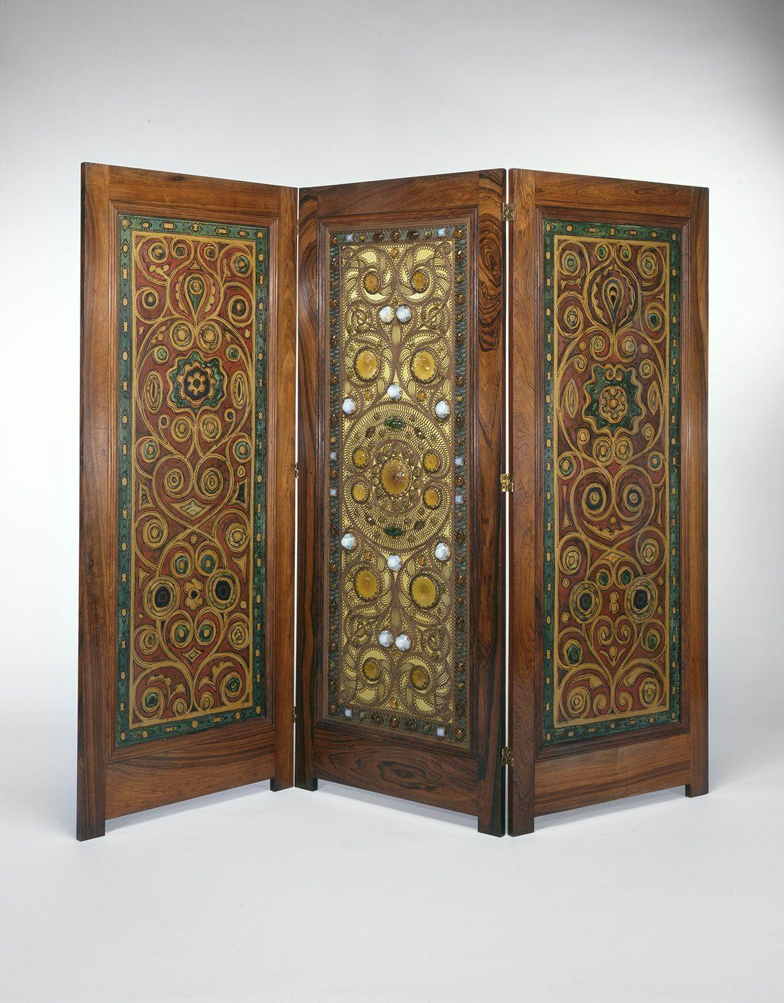 Tri Fold Screen By Louis C Tiffany And Company Ca 1881 Art Nouveau Furniture Victorian Furniture Louis Comfort Tiffany