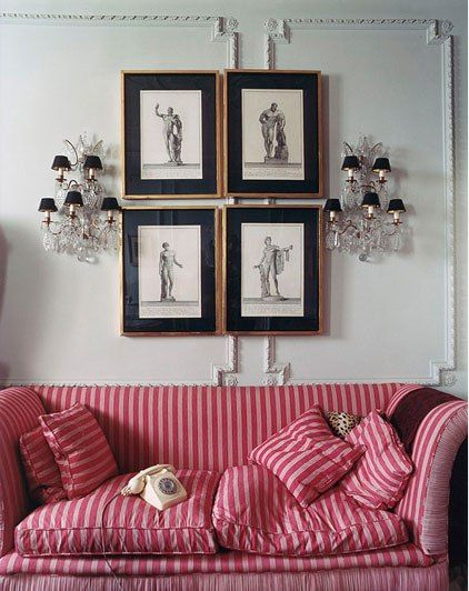 Red stripe sofa - Inside the Private World of Manolo Blahnik ...