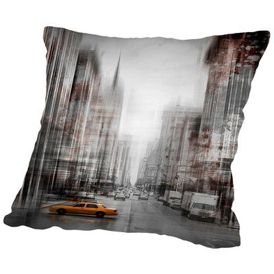 East Urban Home City-Art NYC 5th Avenue Yellow Cab Throw Pillow Size: