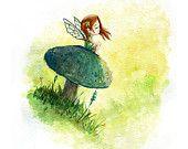 Blue Mushroom Fairy Watercolor Print