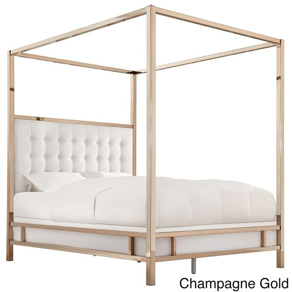 I canu0027t imagine having a rose-gold colored canopy bed. I would literally never leave my bed! INSPIRE Q Solivita Off-white Linen Canopy Button Tufted Metal ...  sc 1 st  Pinterest & I canu0027t imagine having a rose-gold colored canopy bed.... I would ...