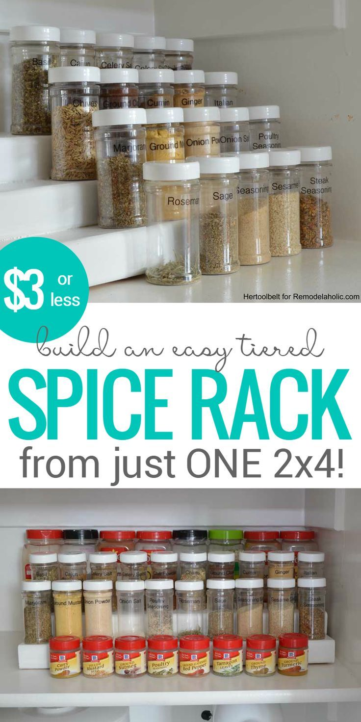 How To Build An Easy Tiered Spice Rack For Three Bucks Or Less Pantry Organizing Simple Building Plan Diy Spice Rack Diy Kitchen Storage Spice Organization