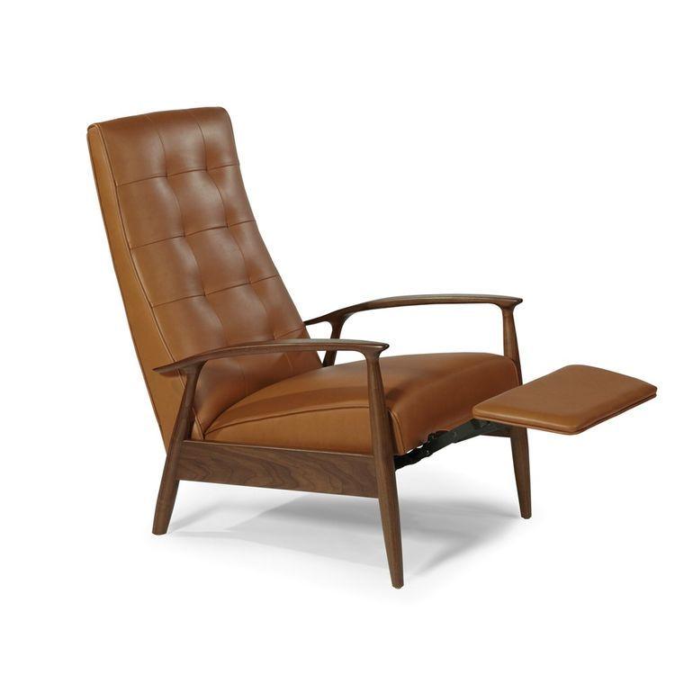 Admirable Sophisticated And Streamlined Midcentury Leather Recliner Inzonedesignstudio Interior Chair Design Inzonedesignstudiocom