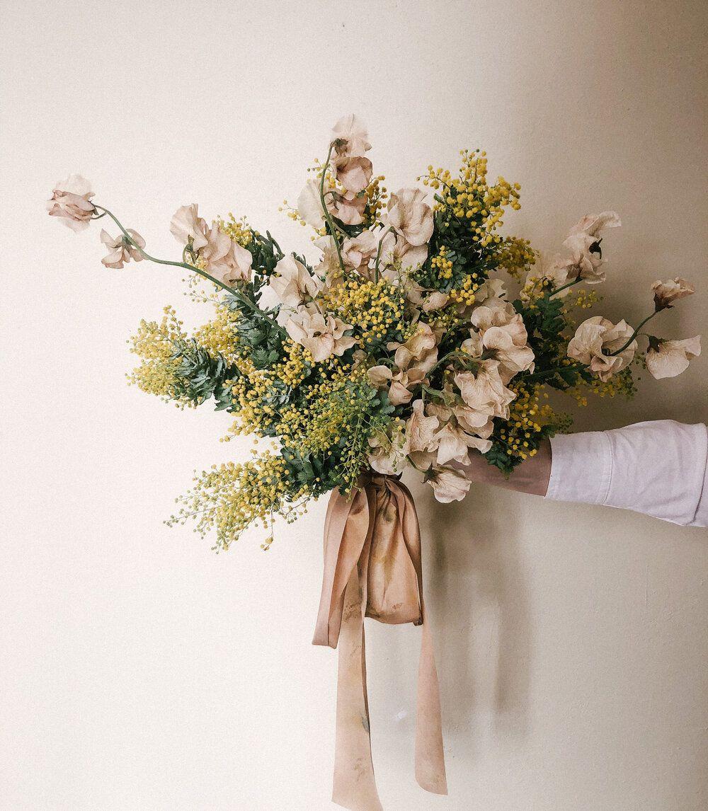 Floral Design By Rise Floral Lake Tahoe Florist Sweet Peas Acacia Bridal Bouquet Golden Blush Fine Art Wedding Modern Fl In 2020 Floral Bouquets Bouquet Floral