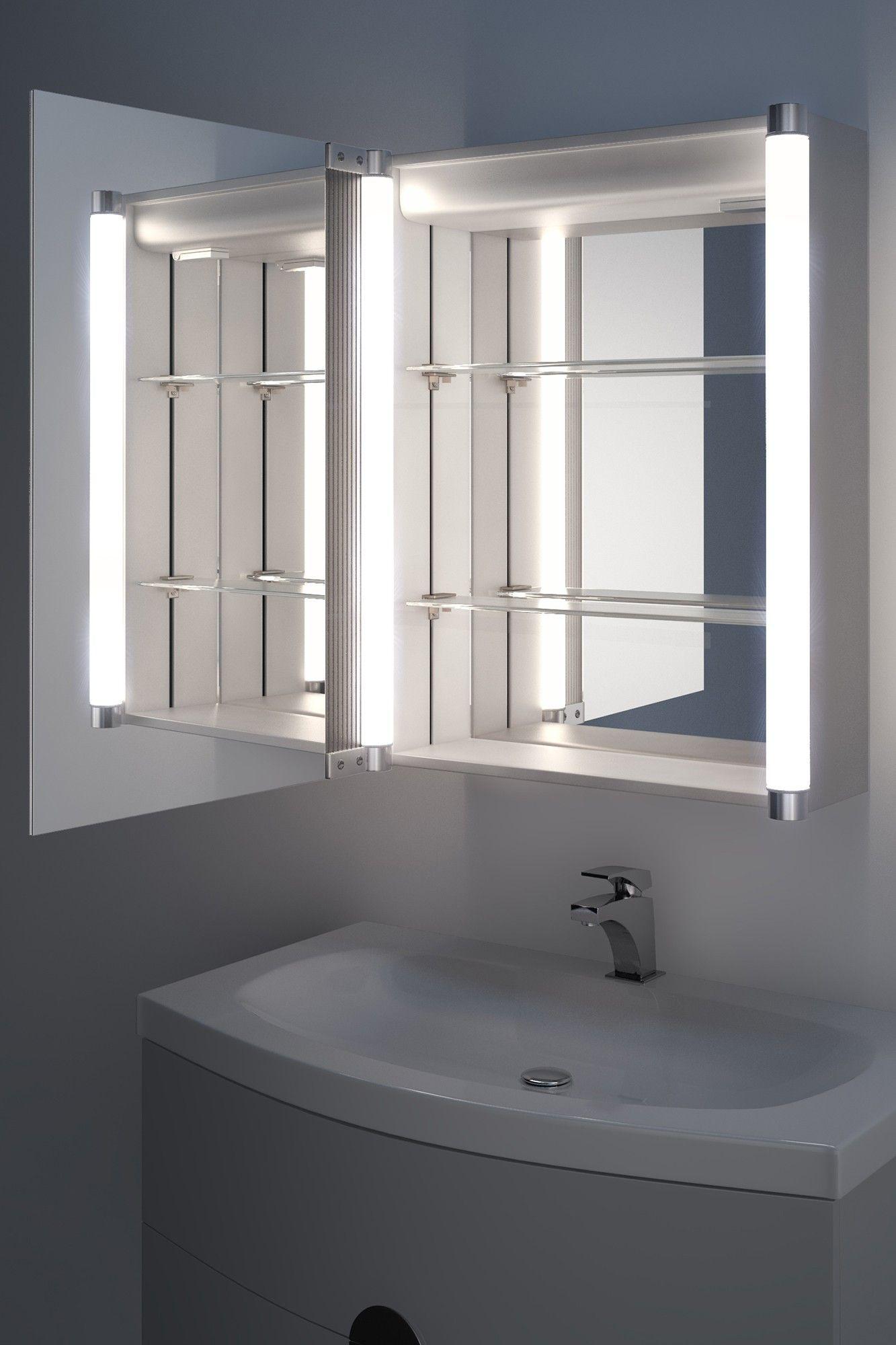 Saber Led Bathroom Demister Cabinet Light Mirrors Bathroom