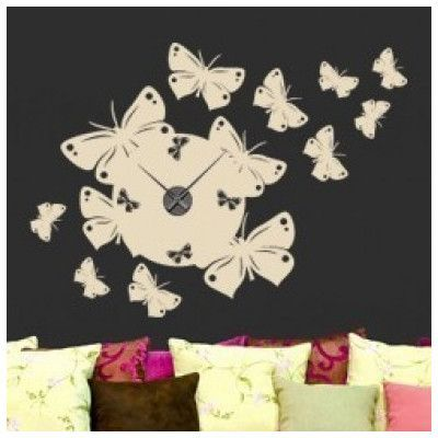 Style And Apply Butterfly Wall Clock Wall Decal Color: Violet