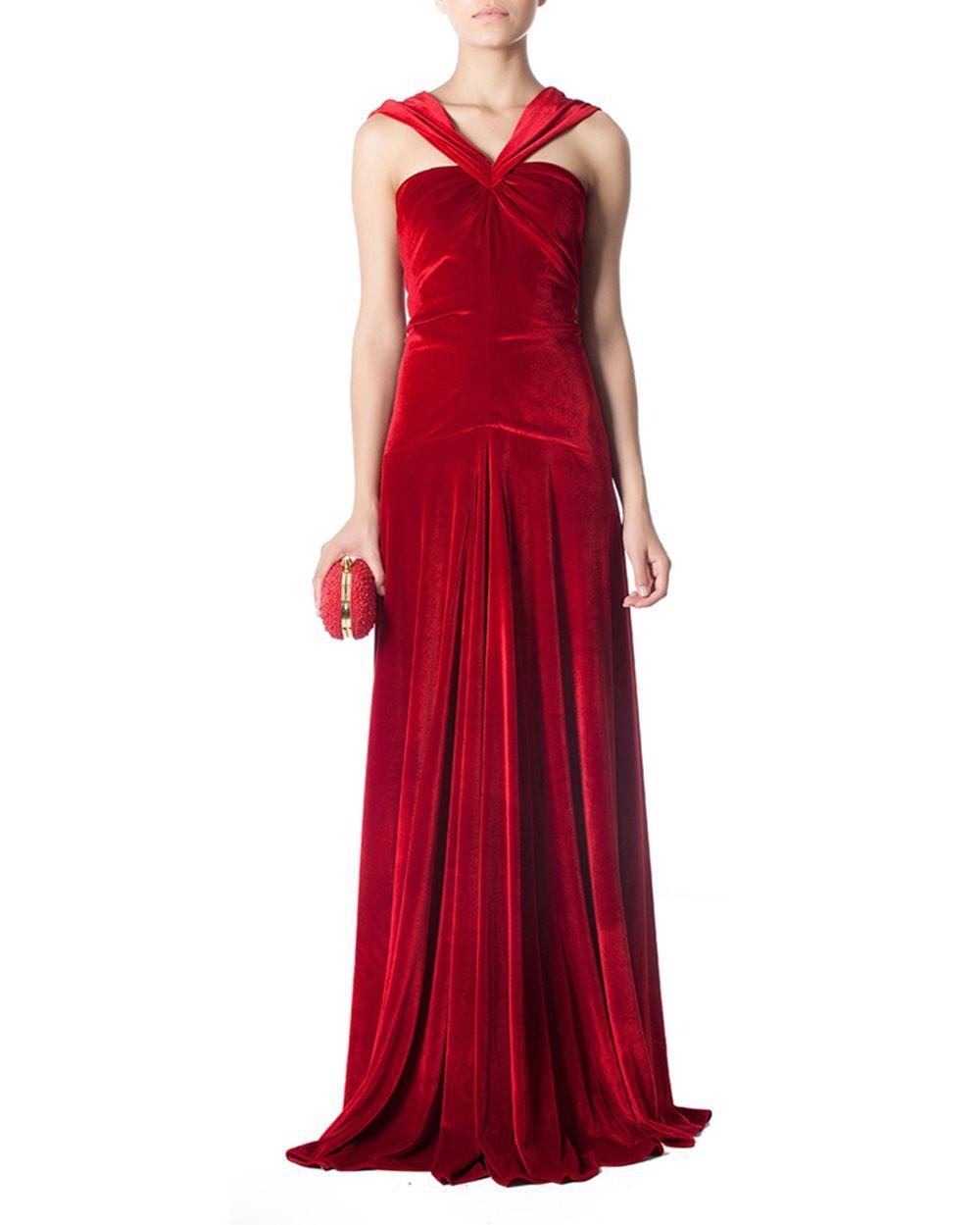 $499 Vestido longo de veludo duas alças com costas franzida - Vestidoteca