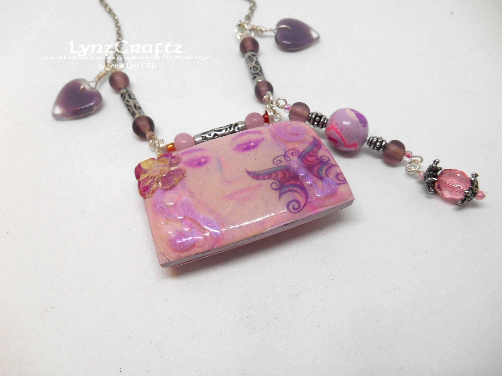 charms and glass beads Pink boheme pendant necklace in polymer clay