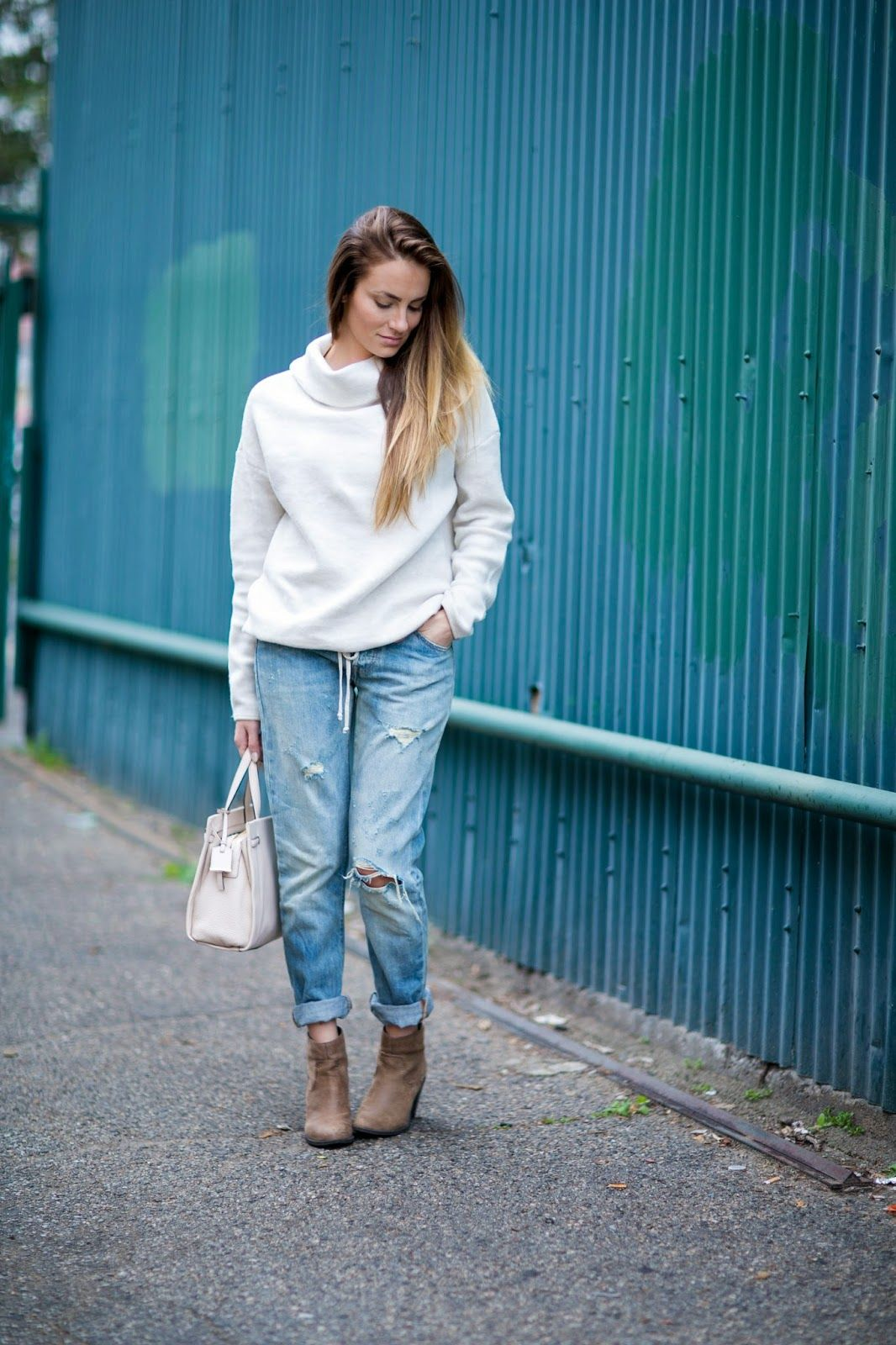Cozy and Distressed in the most comfortable sweater ever made!  #HelloGorgeous