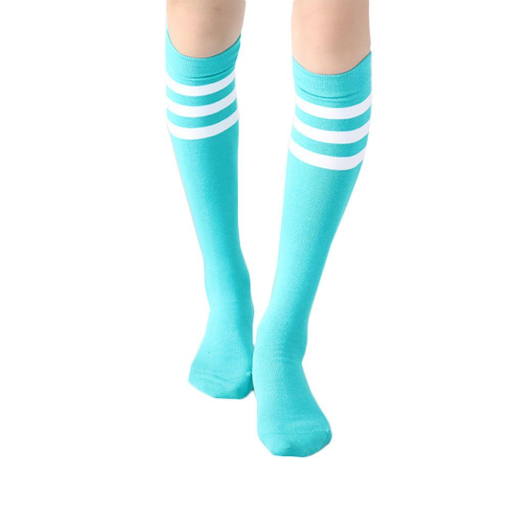 Green 39CM Cotton Athletic Socks Color Stripes 2 Pairs