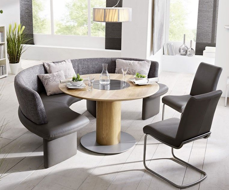 You Have To Think About Replacing The Ordinary Chairs With The Curved Bench For Round Dining Table Dining Table With Bench Round Dining Table Dining Room Table