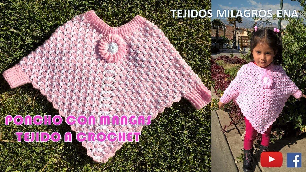 Poncho con Mangas tejido a crochet paso a paso | crochet | Pinterest ...