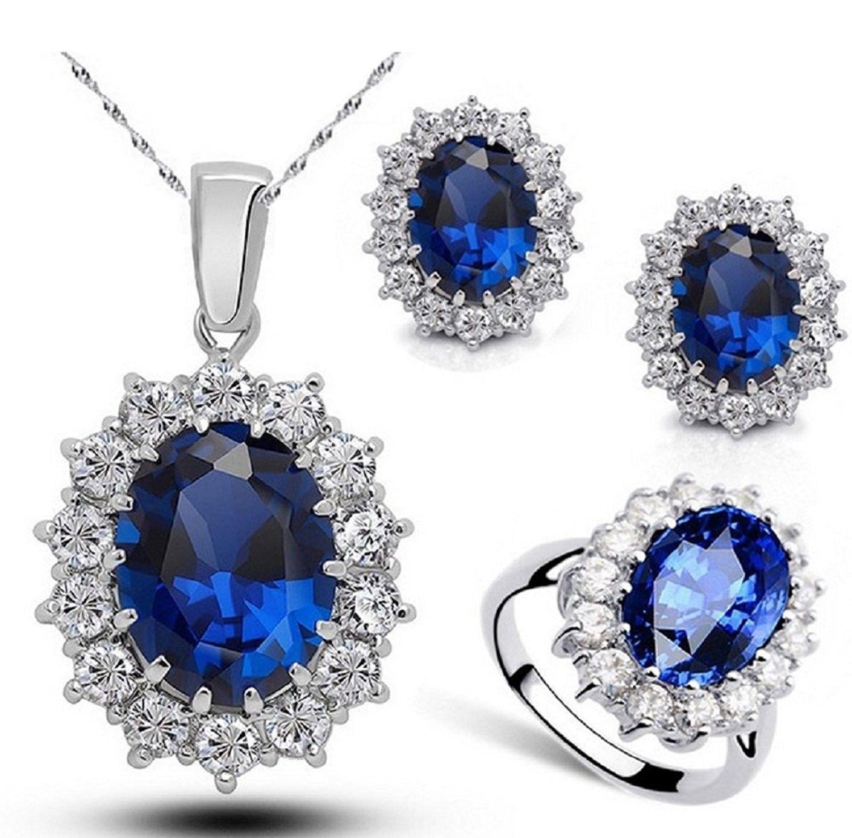 Cubic Zirconia Sapphire Jewelry Set CA12LTV55W3
