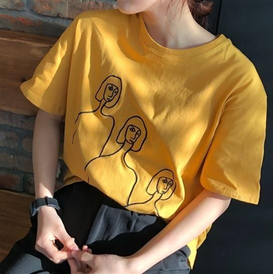 DRAWING THREE FACES BLACK EMBROIDERY SEW LINES COTTON T ...
