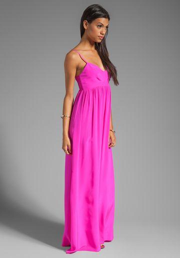 1faa1402b461 AMANDA UPRICHARD Silk Gown in Hot Pink - Dresses