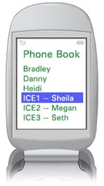 In Case of Emergency – ICE cell phone numbers.