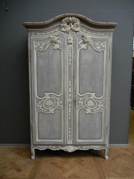 armoire de mariage peinte origine normandie xix me. Black Bedroom Furniture Sets. Home Design Ideas