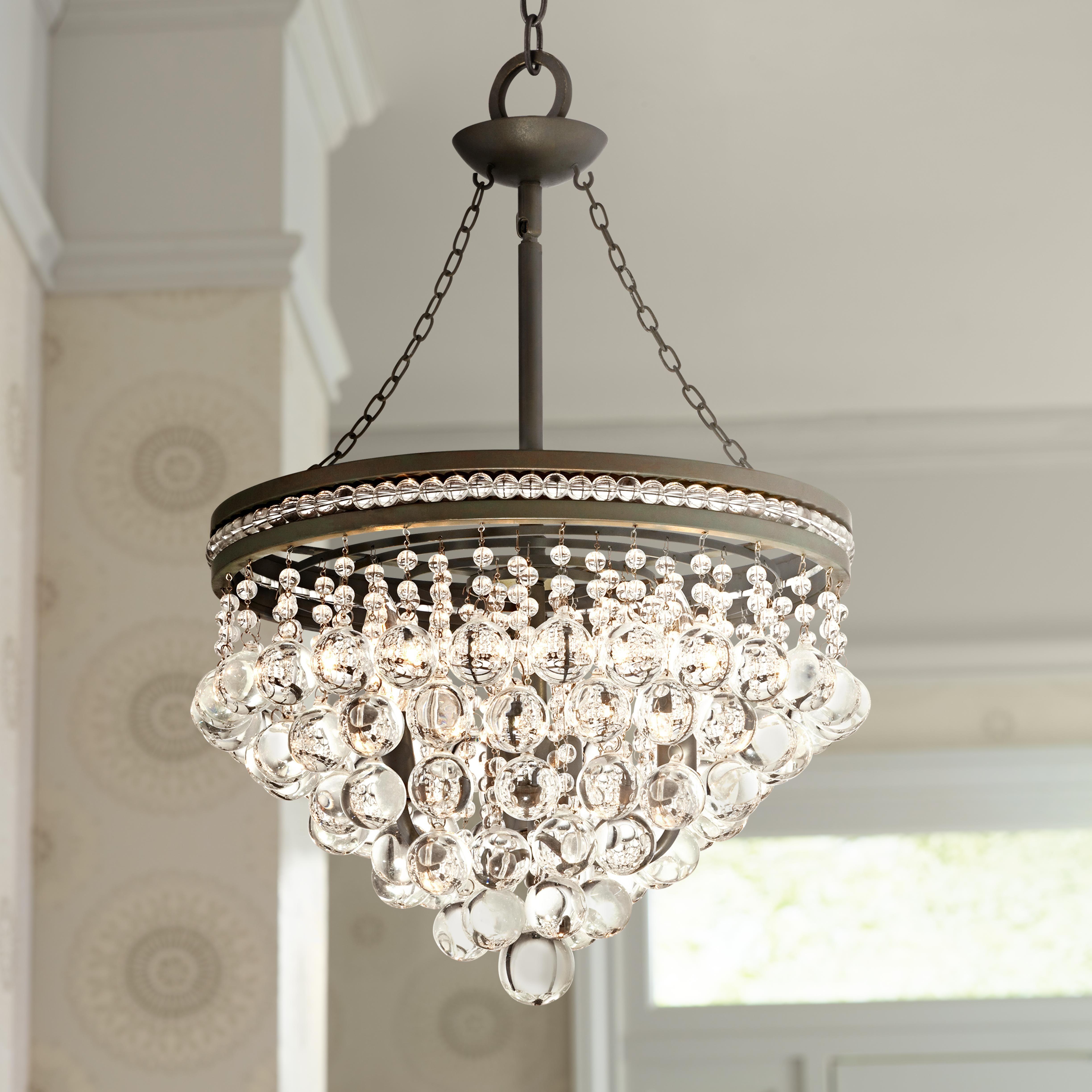 """Regina Olive Bronze 19"""" Wide Crystal Chandelier Lighting"""