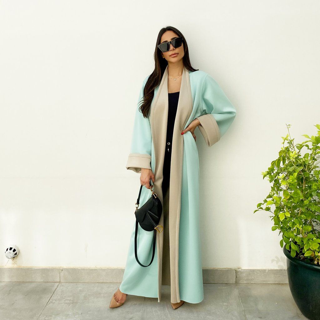 Aw19 Reversible Mushroom Tiffany Overlap Abaya Abaya Long Bomber Jacket Abayas Fashion