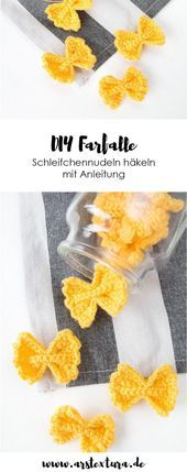 Photo of Nudeln häkeln: DIY Essen für den Kaufmannsladen #Häkelapplikationen Essen Anl…
