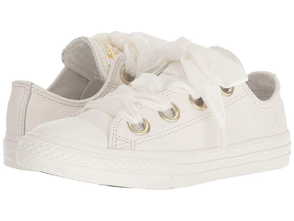 638d78853f Converse Kids Chuck Taylor(r) All Star(r) Star Big Eyelets Ox (Little Kid  Big Kid) (Vintage White Vintage White White) Girls Shoes. The vintage vibes  of the ...