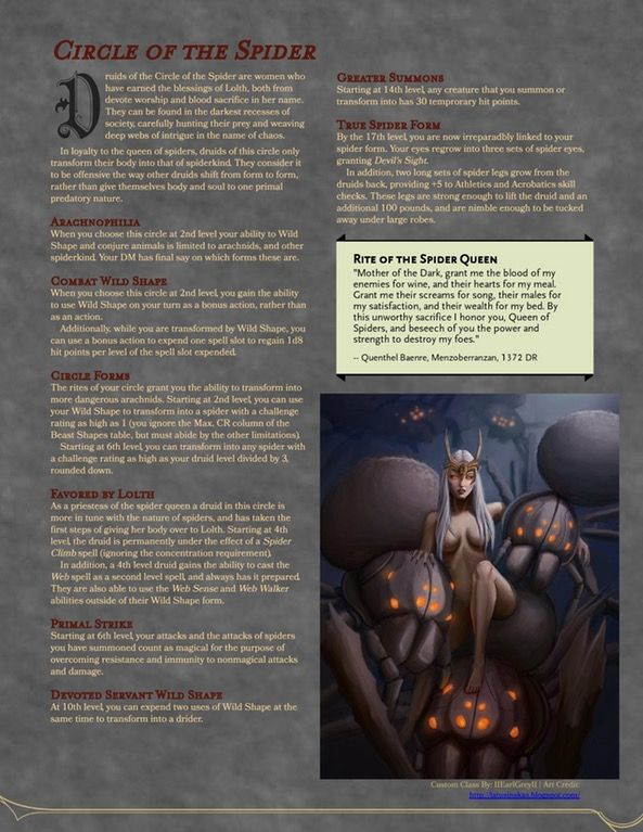 Subclass] Circle of the Spider : UnearthedArcana   D&D in