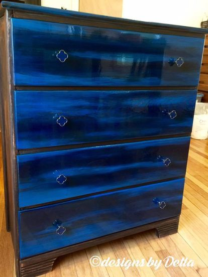 Hand Me Down Dresser Into Work Of Art Using Unicorn SPiT. Blue FurnitureRefurbished  ...