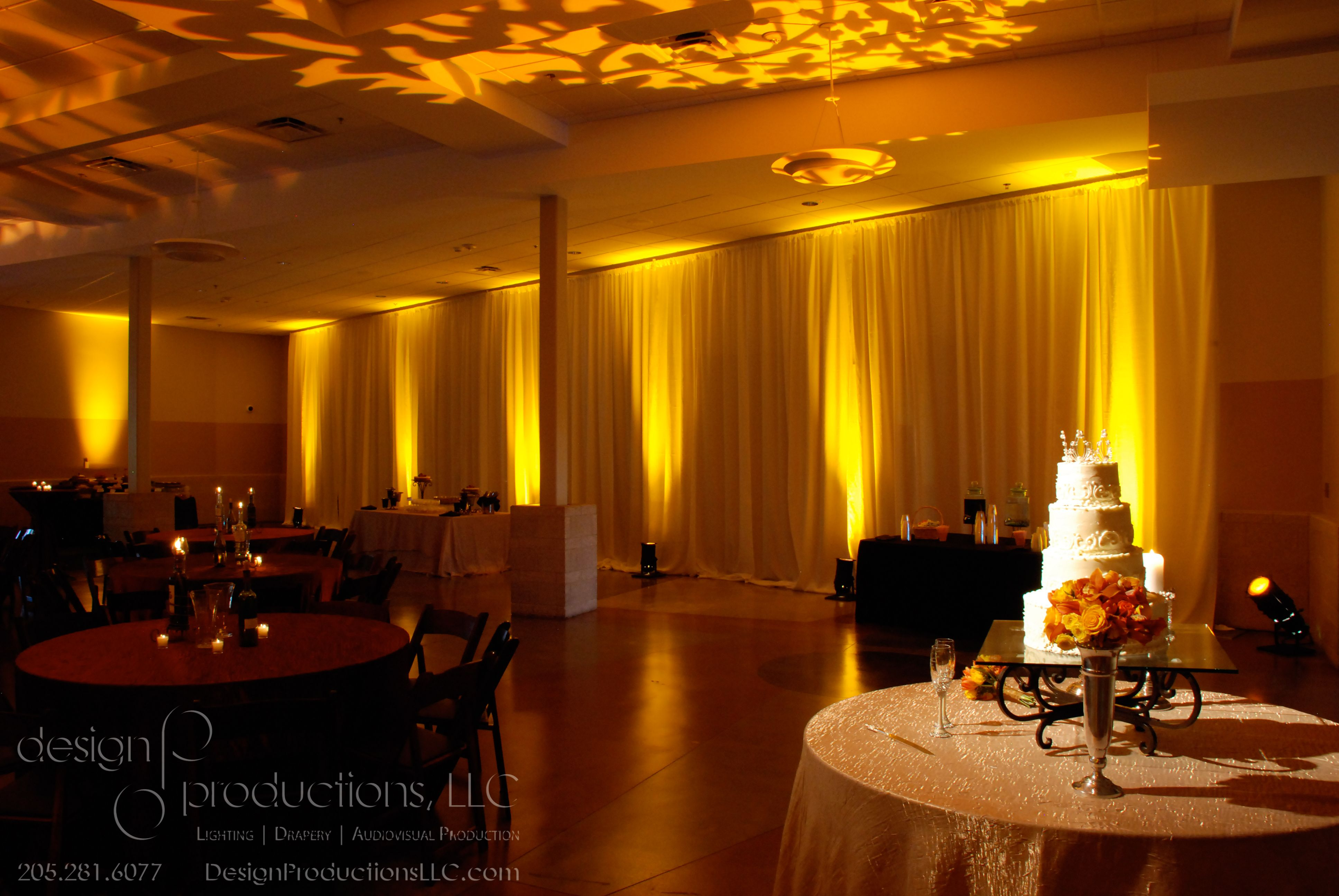 Lighting By Design Productions Draping With Amber Uplights And