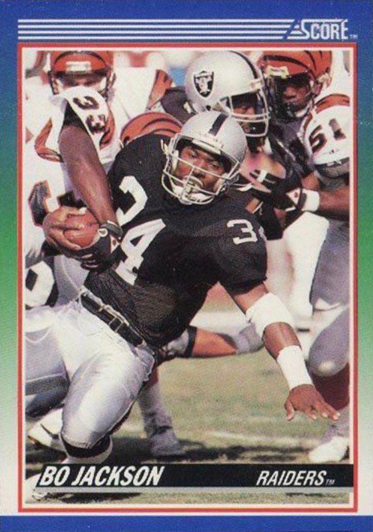 1990 score 10 bo jackson football card football cards