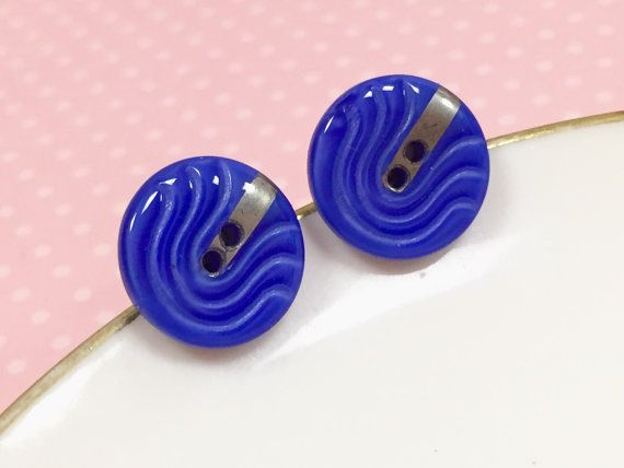 Blue Glass Studs, Vintage Czech Glass Stud Earring, Retro Studs, Blue Wave Design Silver Detail, Blue Glass Button Stud