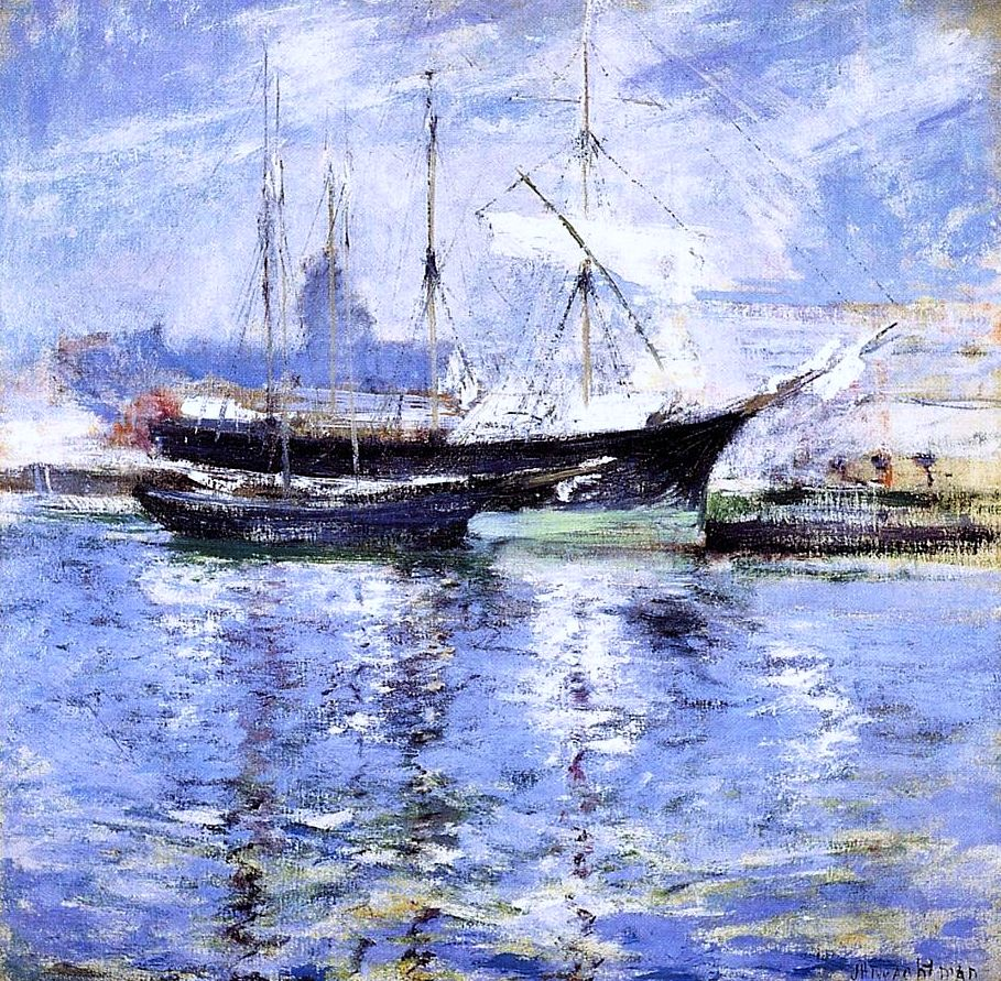 Bark and Schooner (also known as An Italian Barque)  John Twachtman - circa 1901 #art #painting