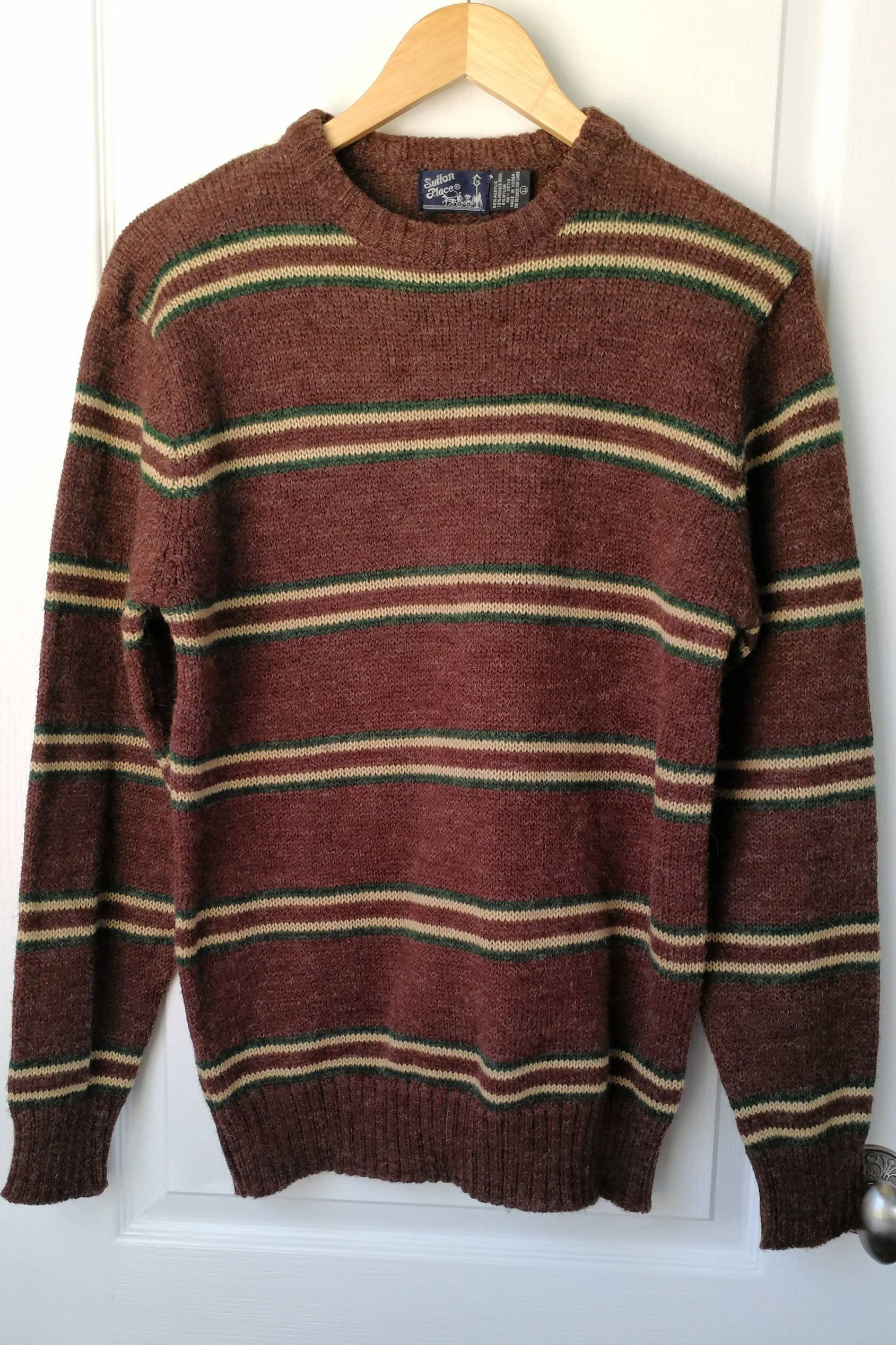 Mens Vintage Sweater Wool Blend Crewneck Pullover Sweater Size