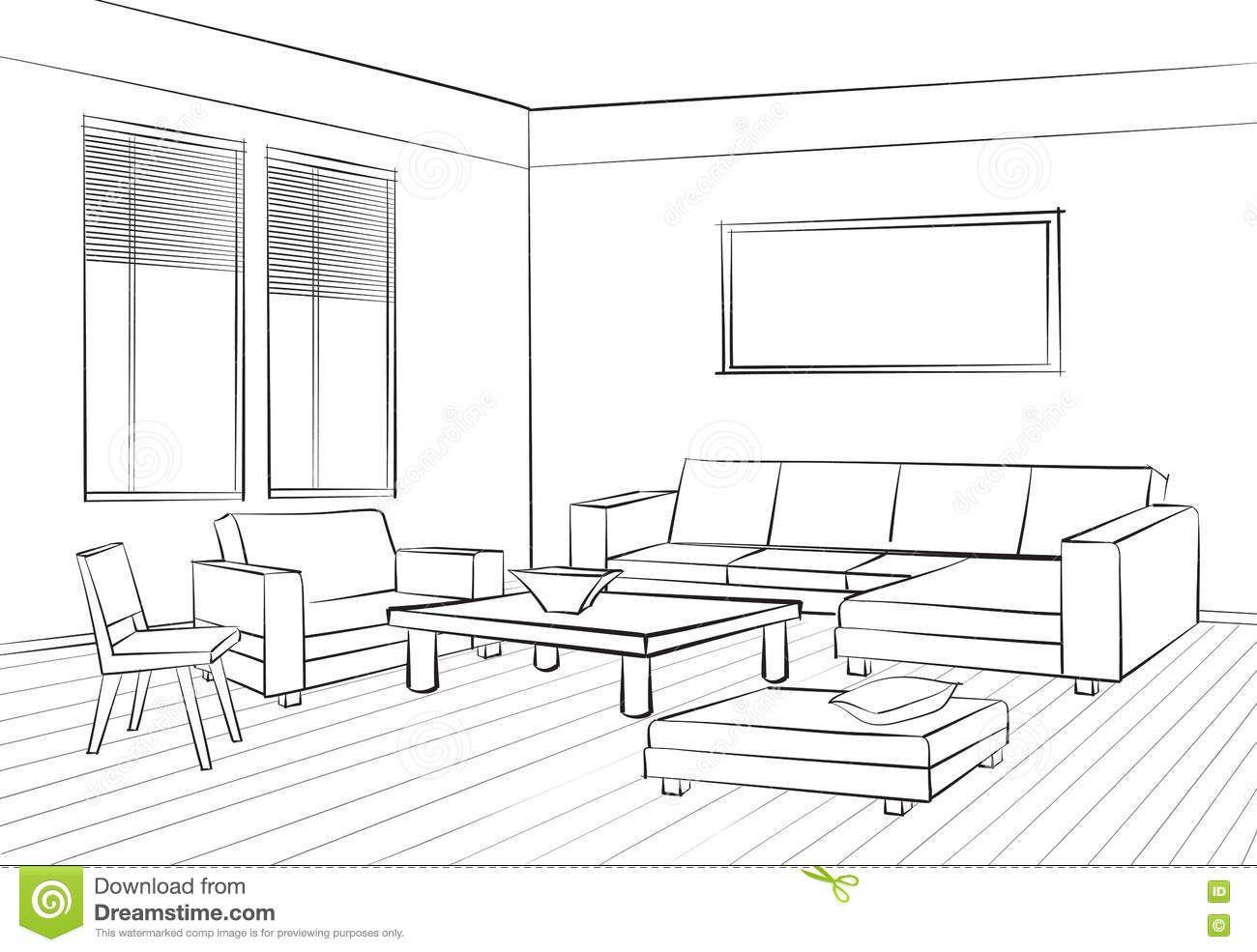 Living Room Design Room Interior Sketch Interior Furniture