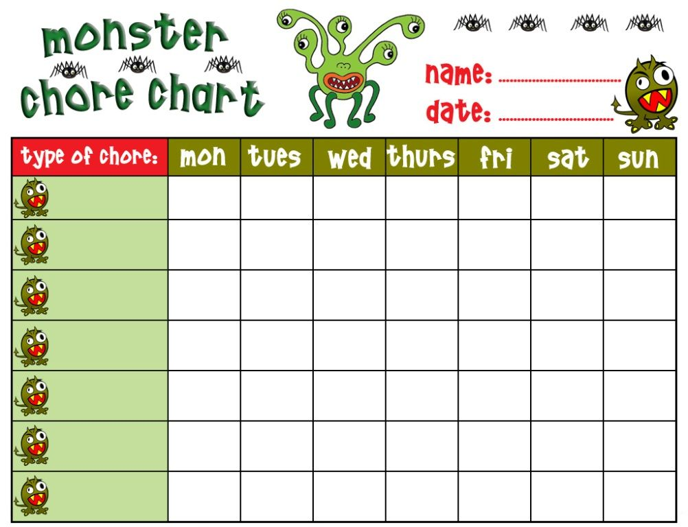 Chore-Charts-For-Kids-Free-Printablejpg (1002×768) Kids Pinterest - chore list template