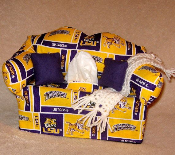 LSU Sofa Tissue Box  FREE Shipping in U.S. by DBAYOU18 on Etsy