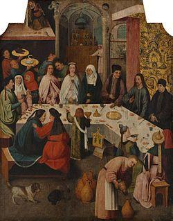 Bosch, Les Noces de Cana, 1475-1480, huile sur bois 93+72 cm, Museum Boijmans-Van Beuningen ...