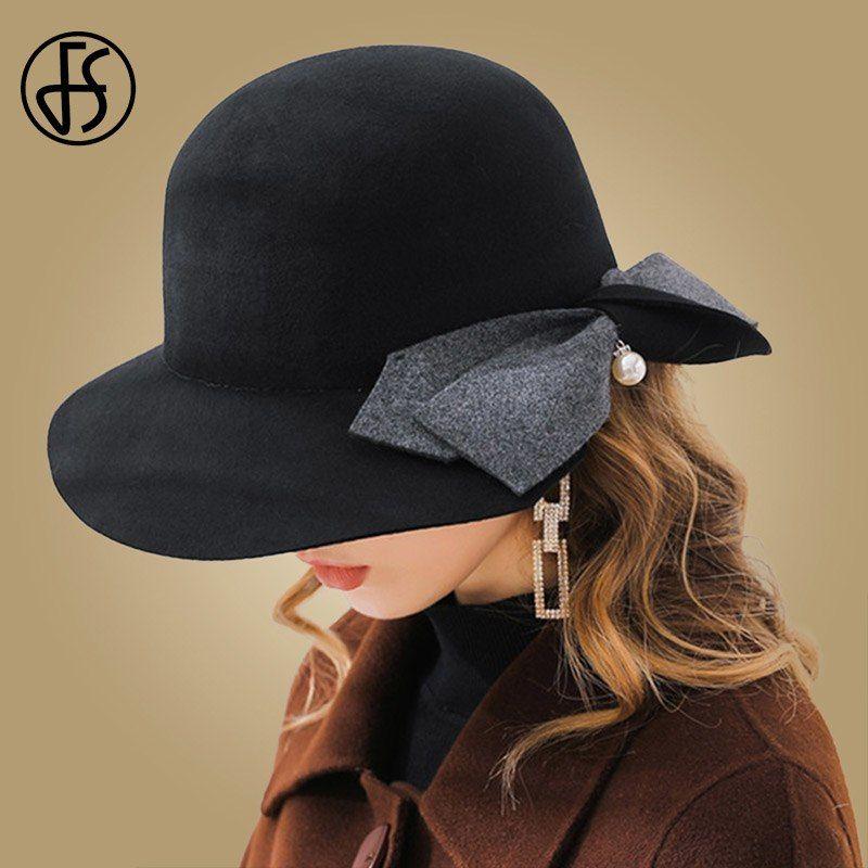 e771be7275d99 FS Black Pink Wool Felt Women Fedoras With Bowknot Pearl Wide Brim Winter  Hats Vintage Cloche