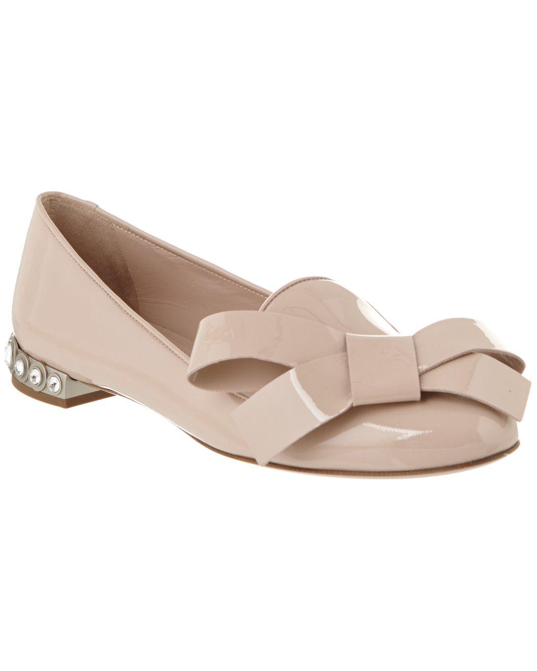 MIU MIU Embellished Heel Patent Loafer