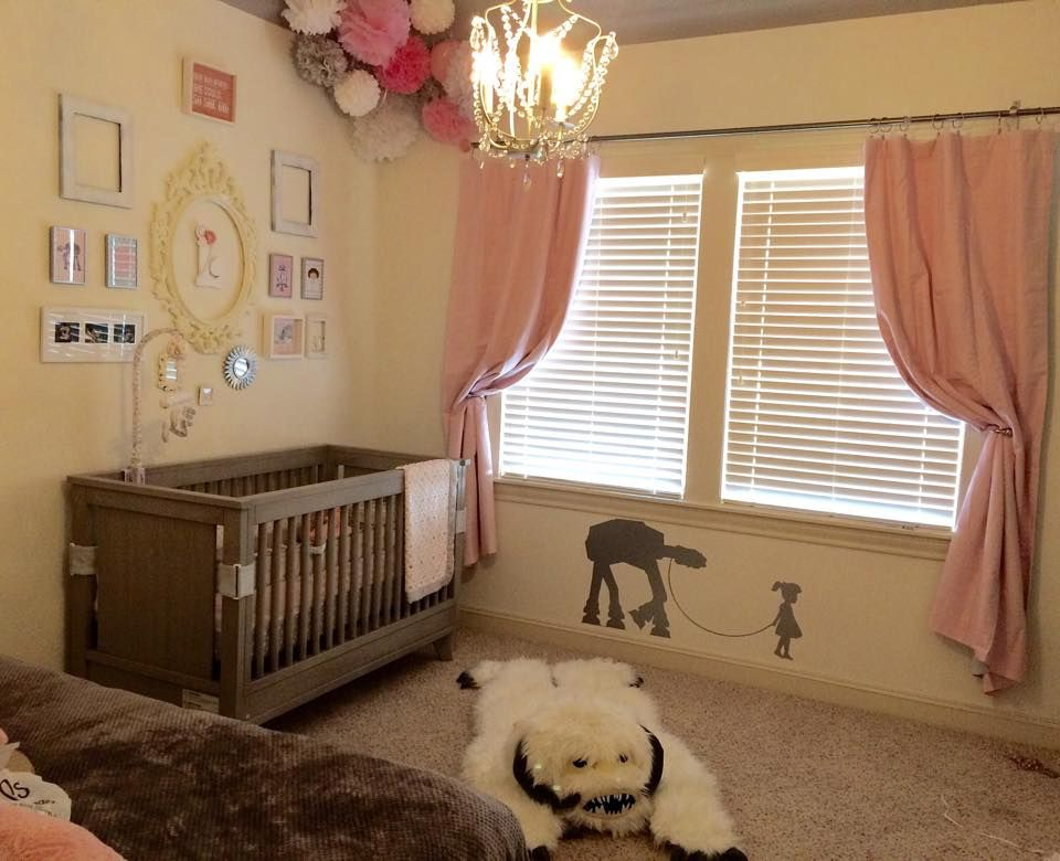 Pink And Gray Star Wars Nursery With Pottery Barn Curtains