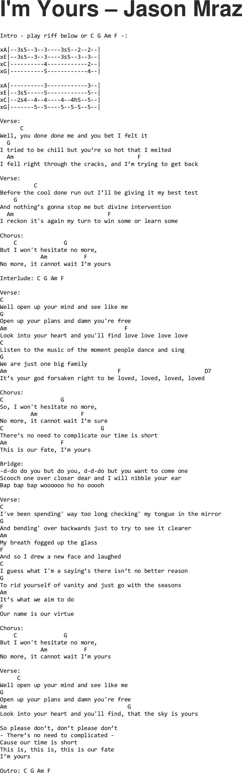 I'm Yours   Jason Mraz ukulele tabs   Ukulele chords songs ...