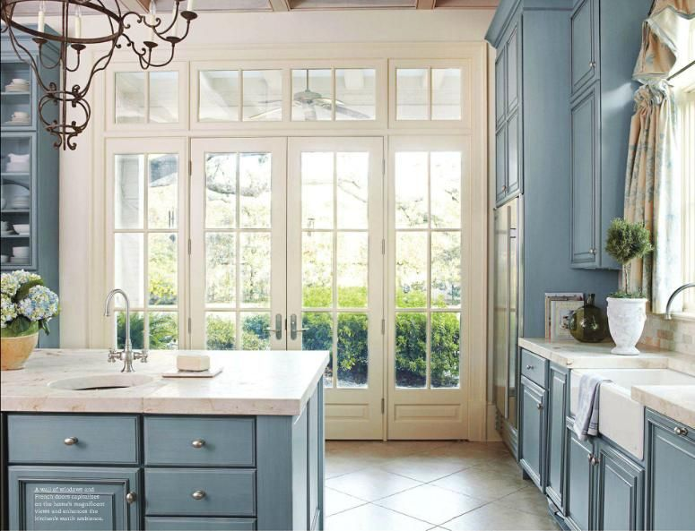 French Kitchen Blue With Hints Of Pink I Think I Found The Color Scheme I Want D French Country Kitchens Light Blue Kitchens Blue Kitchen Walls