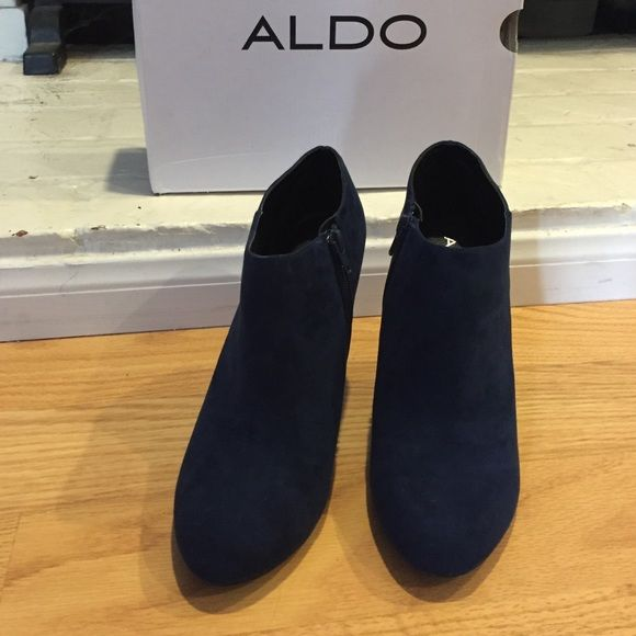 Aldo KAAEN Blue Suede Booties Navy blue suede booties with a 3 inch heel. Only wore once to try the shoe on, never worn again. Super cute!!! There are no scuffs or scratches on these shoes. ALDO Shoes Ankle Boots & Booties